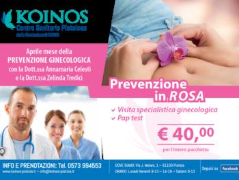 Presso gli studi medici Koinos di Pistoia torna, ad aprile, il mese della prevenzione in rosa. Visite ginecologiche e pap-test a prezzi accessibili. Disponibili anche due date per la prevenzione dermatologica.